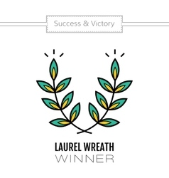 Laurel wreath flat color icon of victory and vector
