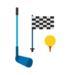 Set of golf club tee and ball sport leisure vector
