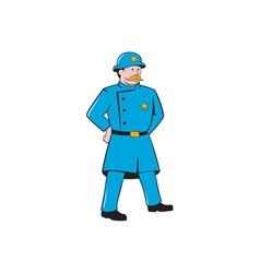 New york policeman vintage standing cartoon vector