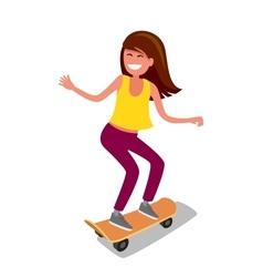 Young girl riding skateboard vector