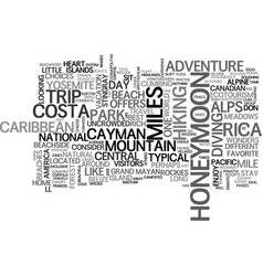 Adventure honeymoon ideas text word cloud concept vector