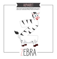 alphabet letter z and zebra vector image