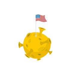 America flag on moon usa banner on yellow planet vector