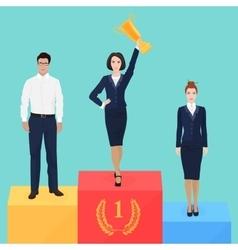 Businesswoman on victory podium concept vector image
