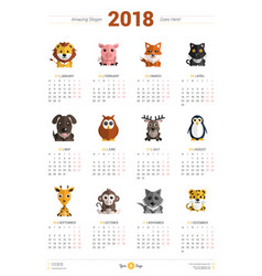 calendar design template for 2018 year week vector image