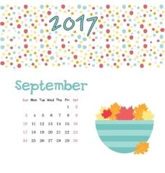 Calendar september 2017 template week vector