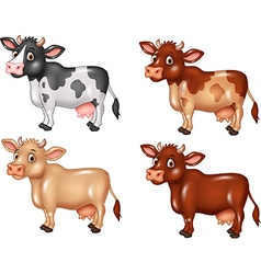 Cartoon cow collection isolated vector