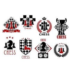 Chess game heraldic symbols and emblems vector