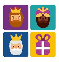 christmas three men kings and gift box celebration vector image vector image