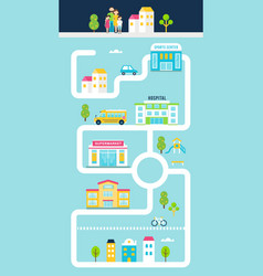 City or town facilities infographics road map vector