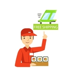 Delivery Service Worker In Red Uniform Holding A vector image