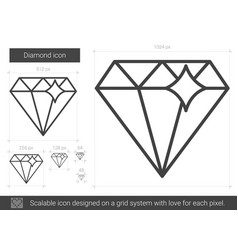 Diamond line icon vector