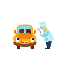 Doctor looking at car through magnifying glass vector