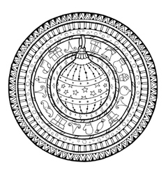 Doodle christmas ball on ethnic mandala vector image