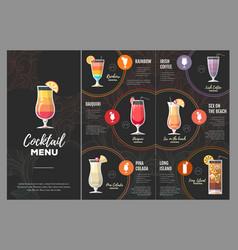 flat cocktail menu design vector image vector image