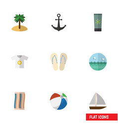 Flat icon beach set of coconut ship hook yacht vector