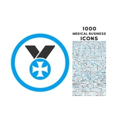 Maltese medal rounded icon with 1000 bonus icons vector
