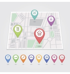 mapping pins icons travel vector image