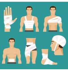 Medical set bandaged body parts vector