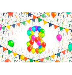 Number eight made up from colorful balloons on vector