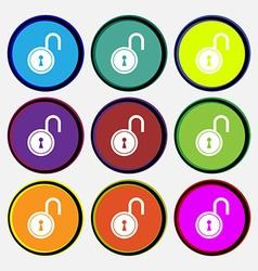 Open lock icon sign nine multi colored round vector