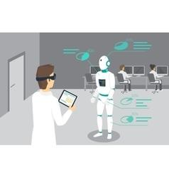 Programming engineer sets a robot using head vector