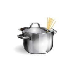 saucepan with spaghetti vector image vector image