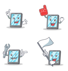 Set of tablet character with foam finger flag vector