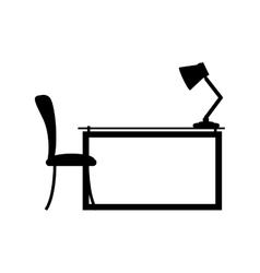 Side view desk with chair and lamp vector
