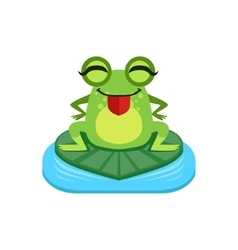 Silly Cartoon Frog Character vector image
