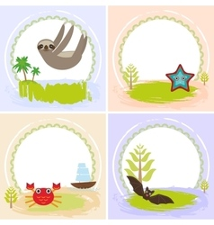 Sloth crab cancer starfish bat set of cards vector