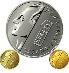 Spanish money peseta gold and silver coin with the vector image vector image