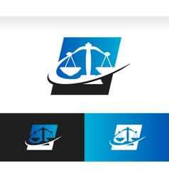 Swoosh balance scale logo icon vector