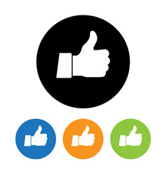 thumb up applique icon flat style vector image vector image
