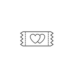 ticket for sweethearts line icon vector image