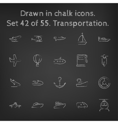 Transpotration icon set drawn in chalk vector