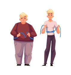 Two men fat and athletic measuring waist with vector