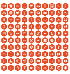 100 sport icons hexagon orange vector image vector image