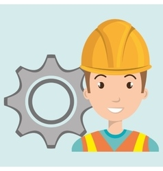 Man construction tool gears vector