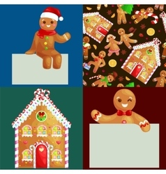Set christmas cookies gingerbread man and girl vector