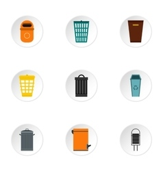 Bin icons set flat style vector