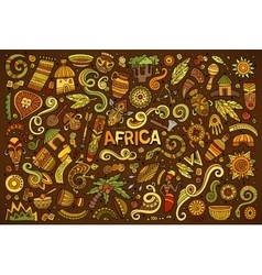 Doodle cartoon set of africa objects vector