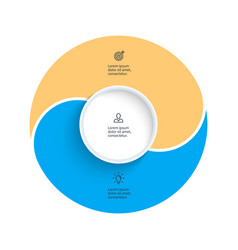 pie chart presentation template with 2 vector image