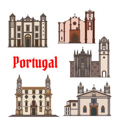 Portuguese travel landmark icon for travel design vector