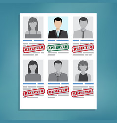 Approved and rejected resumes vector
