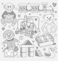 Black and white children vintage toys vector