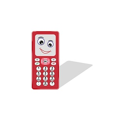 Comic phone with eye and smile vector