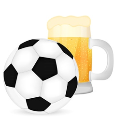 Soccer ball and a mug of beer vector