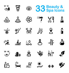 33 black beauty and spa icons vector