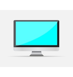 Realistic empty computer display with blue screen vector